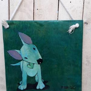 Kutya a háznál III. , Otthon & lakás, Dekoráció, Képzőművészet, Lakberendezés, Festészet, Festett tárgyak, Pácolt, Fa, Táblakép, mely akril festékkel, szabadkézzel van festve. Mérete: 25,5 cm * 25,5 cm  A t..., Meska