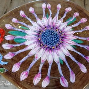 Virágos asztal, Otthon & Lakás, Bútor, Asztal, Festészet, Akril festékkel, kézzel festett virágos asztalka, 3db akác ágfa lábbal. \nMagas kopásállóságú műgyant..., Meska