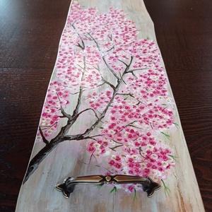Kézzel festett cseresznyevirágos tálca, Otthon & Lakás, Konyhafelszerelés, Tálca, Festészet, Cseresznyefa virágzás...hmm...már nem kell sokat várni rá.\nHa behunyod a szemed és magad elé képzele..., Meska