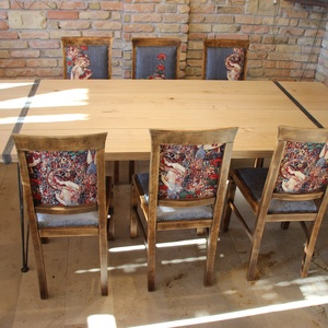 Loft asztal étkező rusztik székekkel, Otthon & lakás, Bútor, Asztal, Szék, fotel, Famegmunkálás, Teljesen új egyedi gyártású étkező garnitúra design megjelenéssel.\nAsztal 5 cm vastag tölgy fából ké..., Meska