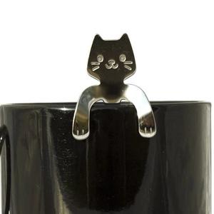 Az én kávém!, Otthon & Lakás, Konyhafelszerelés, Kanál & Villa, Kézi gravírozott cicás kávéskanál. Anyaga: rozsdamentes acél A fej mérete: kb. 1,8*2,0 cm A kanál te..., Meska