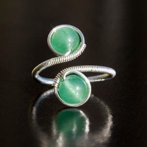 Ezüst aventurin gyűrű, Ékszer, Gyűrű, Többköves gyűrű, Ékszerkészítés, Egyedi, kézzel készült aventurin gyűrű.\n6 mm-es aventurin ásványgyöngy ezüst dróttal betekerve.\n\nÉks..., Meska