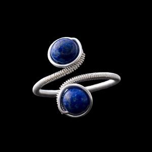 Ezüst lazurit gyűrű, Többköves gyűrű, Gyűrű, Ékszer, Ékszerkészítés, Egyedi, kézzel készült lapis lazuli gyűrű.\n6 mm-es lapis lazuli ásványgyöngy ezüst dróttal betekerve..., Meska