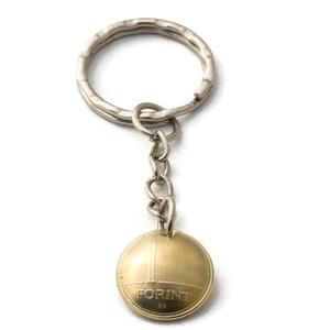 1 forint kulcstartó, Táska & Tok, Kulcstartó & Táskadísz, Kulcstartó, Fémmegmunkálás, Kézi domborított 1 Ft-os érme kulcstartó.\n\nÉrme átmérője: kb 15mm\n\nKiegészítő termék\n1 Ft fülbevaló:..., Meska