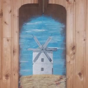 Szélmalom búzamezőben., Akril, Festmény, Művészet, Famegmunkálás, Festett tárgyak, Szélmalom búzamezőben.\n100 éves péklapátra festett szélmalom, egy 3 darabból álló sorozat része. A p..., Meska