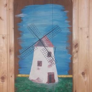 Pihenő szélmalom, Akril, Festmény, Művészet, Famegmunkálás, Festett tárgyak, Pihenő szélmalom.\n100 éves péklapátra festett szélmalom, egy 3 darabból álló sorozat része. A péklap..., Meska