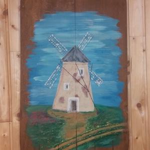 Szélmalom a dombon, Akril, Festmény, Művészet, Famegmunkálás, Festett tárgyak, Szélmalom a dombon.\n100 éves péklapátra festett szélmalom, egy 3 darabból álló sorozat része. A pékl..., Meska