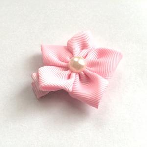 Rózsaszín virágos hajcsat, kitűző, bross, hajgumi (RibbonLove) - Meska.hu