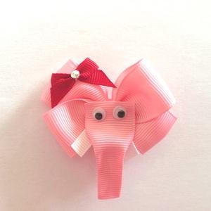 Rózsaszín elefánt hajcsat, Táska, Divat & Szépség, Hajbavaló, Ruha, divat, Hajcsat, Mindenmás, Ezt az aranyos rózsaszín elefántot szalagból készítettem, 4,5 cm-es aligátor hajcsatra helyeztem el...., Meska