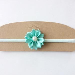 Menta virágos puha rugalmas hajpánt, fejpánt esküvőre, ünnepi alkalomra (RibbonLove) - Meska.hu