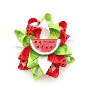 Dinnyés hajcsat , Táska, Divat & Szépség, Ruha, divat, Hajbavaló, Hajcsat, Ékszerkészítés, Varrás, A nyár kedvenc gyümölcse, az édes görögdinnye ihlette ezt a hajcsatot!\n\nA hajbavalót szalagból készí..., Meska