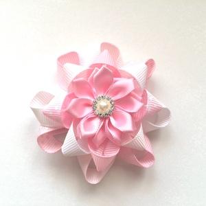 Fehér és rózsaszín virágos hajcsat szalagból  (RibbonLove) - Meska.hu