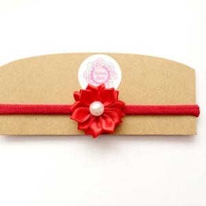 Piros virágos puha rugalmas hajpánt, fejpánt (RibbonLove) - Meska.hu