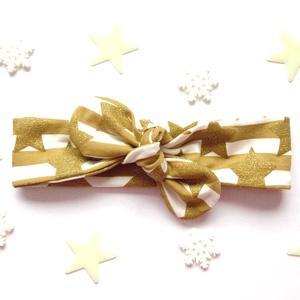 Arany és fehér csíkos, csillogó csillag mintás masnis (csomózott) pamut jersey fejpánt / hajpánt, Karácsony, Karácsonyi ruházat, Varrás, Ékszerkészítés, Meska