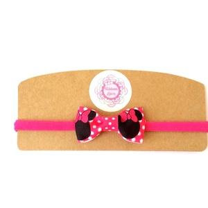 Pink minnie egér masnis puha rugalmas hajpánt, fejpánt , Hajráf & Hajpánt, Hajdísz & Hajcsat, Ruha & Divat, Varrás, Ékszerkészítés, Minnie egér rajongóknak tökéletes választás ez a pink masnis fejpánt!\nA masnit szalagból készítettem..., Meska