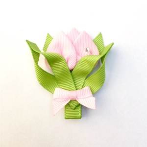 Rózsaszín tulipán hajcsat, Táska, Divat & Szépség, Hajbavaló, Ruha, divat, Hajcsat, Ékszerkészítés, Varrás, Ezt a rózsaszín tulipánt szalagból készítettem, 4,5 cm-es aligátor hajcsatra helyeztem el. A hajcsat..., Meska