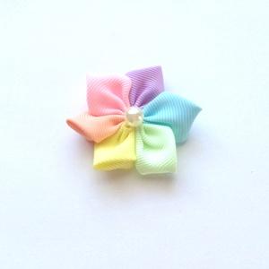 Szivárvány, pasztell, színes virágos hajcsat, kitűző, bross, hajgumi (RibbonLove) - Meska.hu