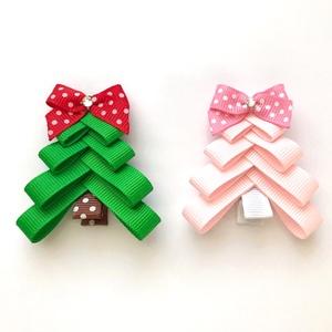 Rózsaszín karácsonyfa hajcsat karácsonyra, mikulásra, fotózásra (RibbonLove) - Meska.hu