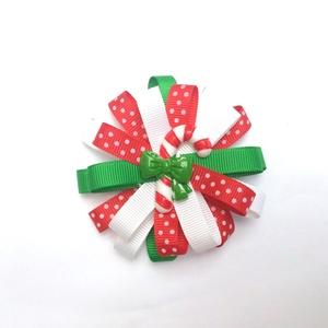 Karácsonyi nyalóka sok szalagos hajcsat, kitűző, hajgumi (RibbonLove) - Meska.hu