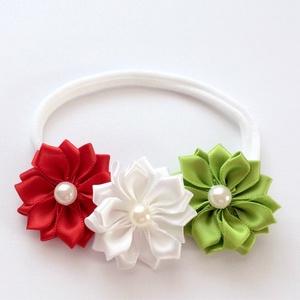 Nemzeti piros fehér világos zöld virágos puha rugalmas hajpánt, fejpánt keresztelőre, esküvőre (RibbonLove) - Meska.hu