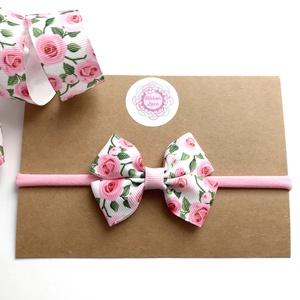 Rózsa mintás dupla masnis puha rugalmas fejpánt, hajpánt, Táska, Divat & Szépség, Hajbavaló, Ruha, divat, Gyerek & játék, Hajpánt, Varrás, Ékszerkészítés, Igazi tavaszias hangulatú ez a rózsa mintás dupla masnis fejpánt!\nA masnit szalagból készítettem.\n\nA..., Meska