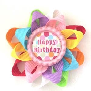 Születésnapra színes hajcsat, Gyerek & játék, Baba-mama kellék, Táska, Divat & Szépség, Hajbavaló, Ruha, divat, Ékszerkészítés, Varrás, Egyedi ajándék ez a színes, szalagból készült Happy Birthday feliratú hajcsat! \nA szalagokat 4,5 cm-..., Meska
