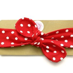 Piros - fehér pöttyös masnis (csomózott) rugalmas pamut fejpánt / hajpánt, Táska, Divat & Szépség, Hajbavaló, Ruha, divat, Hajpánt, Varrás, Ékszerkészítés, Szuper aranyos divatos kiegészítő ez a masnis fejpánt!\n\nNagyon jó minőségű pamut jersey anyagból kés..., Meska