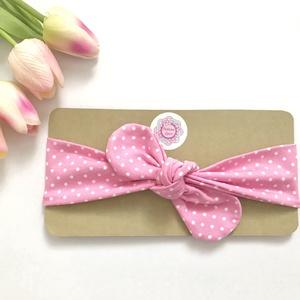 Rózsaszín alapon fehér pöttyös rugalmas pamut fejpánt / hajpánt, Hajráf & Hajpánt, Hajdísz & Hajcsat, Ruha & Divat, Varrás, Ékszerkészítés, Szuper aranyos divatos kiegészítő ez a masnis fejpánt!\n\nNagyon jó minőségű pamut anyagból készült, a..., Meska