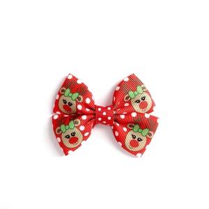 Piros alapon rénszarvas mintás dupla masnis hajcsat karácsonyi fotózásra, Táska, Divat & Szépség, Ruha, divat, Hajbavaló, Hajcsat, Hajpánt, Ékszerkészítés, Varrás, Fotózásra, ünnepi alkalomra tökéletes választás ez a piros alapon piros orrrú rénszarvas (Rudi, Rudo..., Meska