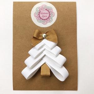 Fehér karácsonyfa hajcsat karácsonyra, mikulásra, fotózásra, Karácsony, Karácsonyi ruházat, Ékszerkészítés, Varrás, Meska