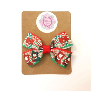 Piros, zöld, fehér kockás alapon télapó, mikulás, karácsonyi nyalóka mintás dupla masnis hajcsat karácsonyi fotózásra, Karácsony, Karácsonyi ruházat, Ékszerkészítés, Varrás, Meska