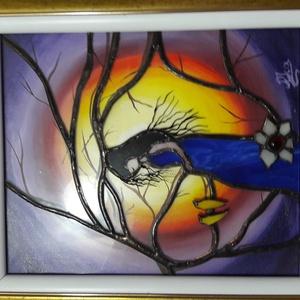 Kép, Képzőművészet, Otthon & lakás, Vegyes technika, Festészet, Üvegművészet, Cím:Anyaság\nVegyes technikával készült 25x35cm 3D kép\nOlajfestés-tiffany üveg technika, Meska
