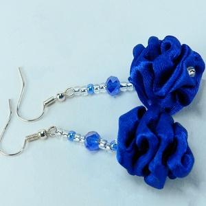 Kék fülbevaló, kék ékszer, selyem ékszer, selyem fülbevaló, ajándék nőknek, elegáns ékszer, ajándék lányoknak , Ékszer, Fülbevaló, Ékszerkészítés, Kék fülbevaló, kék ékszer, selyem ékszer, selyem fülbevaló, ajándék nőknek, elegáns ékszer, ajándék..., Meska