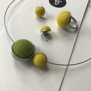 RingJuli lime - citrom szett, Ékszer, Ékszerszett, Nemezelés, Ékszerkészítés, Saját nemezelésű golyókból, saját magam által tervezett és készített ékszerszett.\n\nAz ékszerszett je..., Meska