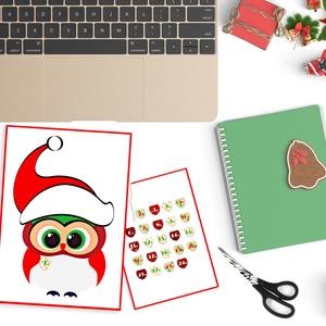 Karácsonyi bagoly - nyomtatható adventi naptár, Adventi naptár, Karácsony & Mikulás, Otthon & Lakás, Fotó, grafika, rajz, illusztráció, Szegény kicsi bagolynak szüksége van néhány tollra! Segíts neki, hogy teljesüljön az ő karácsonyi kí..., Meska