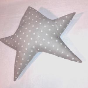Csillag párna- szürke fehér  (ritakreativ) - Meska.hu