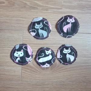 Mosható arctisztító korongok, arctisztító párnák- fekete alapon macskás, 5db (ritakreativ) - Meska.hu