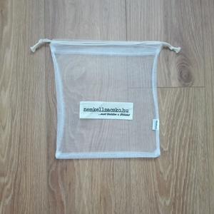 Bevásárló zsák szett 1db-NEMKELLZACSKÓs cimkével, fehér tüll (ritakreativ) - Meska.hu