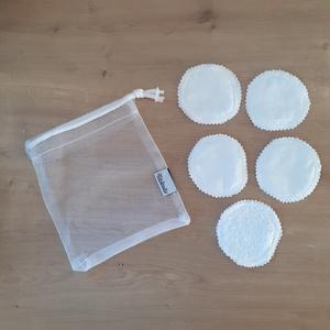 Arctisztító korong szett (5 db) ajándék mosózsákkal, hófehér - sminklemosó, arclemosó, kozmetikai párna - Meska.hu