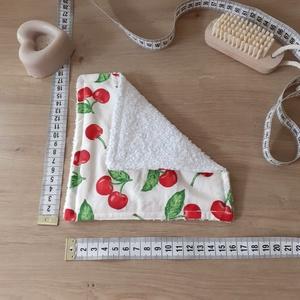 Konyhai törlőkendő kicsi - cseresznye - baba popsitörlő, mosdókendő, sminklemosó, Otthon & Lakás, Konyhafelszerelés, Konyharuha & Törlőkendő, Az eldobható háztartási és egészségügyi törlőkendők környezetbarát, újrahasználható, mosható alterna..., Meska