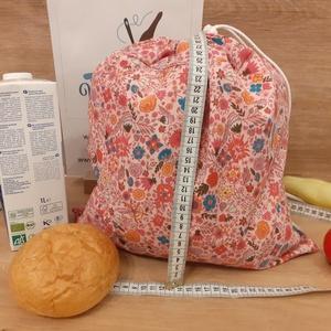 Kenyeres zsák, vízhatlan frissentartó - közepes, rózsaszín virágos, Táska & Tok, Bevásárlás & Shopper táska, Kenyeres zsák, Varrás, Helyettesíti az eldobható műanyag zacskókat, pékárus zacsakókat. Ha nem szeretnél mindig egyszer has..., Meska