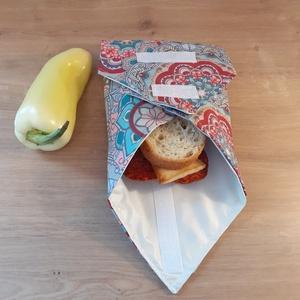 Újraszalvéta, vízhatlan örökszalvéta, szendvics csomagoló - mandala, Táska & Tok, Uzsonna- & Ebéd tartó, Ebéd tasak, doboz, Varrás, Helyettesíti az eldobható műanyag zacskókat, alufóliát, műanyagdobozt. Ha nem szeretnél mindig egysz..., Meska