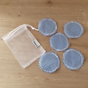 Arctisztító korong szett (5 db) ajándék mosózsákkal, kék matróz mintás - sminklemosó, arclemosó, kozmetikai párna, Szépségápolás, Arcápolás, Arctisztító korong, Az 5db korong mellé a képen láthatóhoz hasonló tüll mosózsák bónusz ajándék!  Az eldobható vattakoro..., Meska
