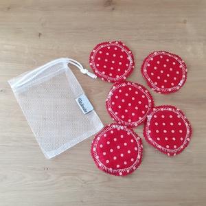 Arctisztító korong szett (5 db) ajándék mosózsákkal, piros pöttyös - sminklemosó, arclemosó, kozmetikai párna, Szépségápolás, Arcápolás, Arctisztító korong, Az 5db korong mellé a képen láthatóhoz hasonló tüll mosózsák bónusz ajándék!  Az eldobható vattakoro..., Meska