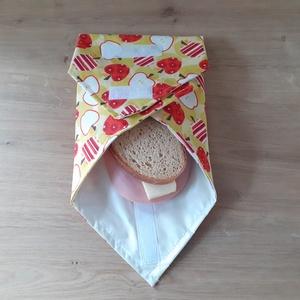 Újraszalvéta, vízhatlan örökszalvéta, szendvics csomagoló - alma - snackbag, Táska & Tok, Uzsonna- & Ebéd tartó, Szendvics csomagoló, Helyettesíti az eldobható műanyag zacskókat, alufóliát, műanyagdobozt. Ha nem szeretnél mindig egysz..., Meska
