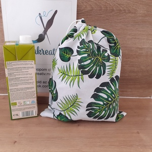 Zöld leveles bevásárlózsák - bevásárló szatyor, vászon zsák, öko zacskó, gyümölcsös, zöldséges, Táska & Tok, Bevásárlás & Shopper táska, Zöldség/Gyümölcs zsák, Szeretnéd csökkenteni a hulladékot amit termelsz? Itt a megoldás! Helyettesíti az eldobható műanyag ..., Meska