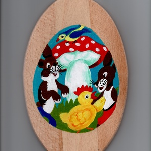 Mintás fa tál, Képzőművészet, Otthon & lakás, Napi festmény, kép, Egyéb, Húsvéti díszek, Ünnepi dekoráció, Dekoráció, Festett tárgyak, Mintás festett fa tál. Mérete 24x15 cm., Meska