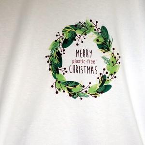 Designer karácsonyi mintás póló , Táska, Divat & Szépség, Ruha, divat, Férfi ruha, Női ruha, Festett tárgyak, Mindenmás, Fehér póló, karácsonyi mintával. Különböző méretekben.\n\n, Meska