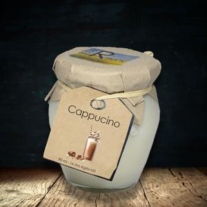 Repceviasz illatgyertya - Cappucino - 16/32 óra, Gyertya & Gyertyatartó, Dekoráció, Otthon & Lakás, Gyertya-, mécseskészítés, Rita\'s repceviasz gyertya intenzív Cappucino illattal, fa kanóccal. Fekete kávészemek illata megédes..., Meska