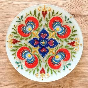 Mandala tál, Otthon & lakás, Esküvő, Képzőművészet, Dekoráció, Dísz, Esküvői dekoráció, Üvegművészet, Festészet, Üvegtálra festett mandala, akril festékkel. Méret: 20 cm, Meska